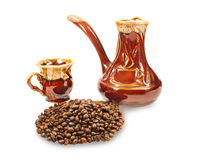 Coffee beans, cup and coffee maker Stock Photography