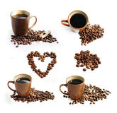 Coffee beans and cup of coffee theme set. Cup of coffee, bunch of roasted coffee beans, heart shaped coffee beans and wooden coffee measure spoon isolated on Royalty Free Stock Photography