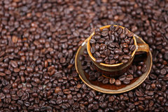 Coffee beans in a cup. A cup full of coffee beans Royalty Free Stock Image