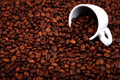 Coffee beans and cup. Cup full with coffee beans over coffee background Stock Photo