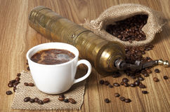 Coffee Beans, Cup and Grinder Stock Photo