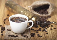 Coffee Beans, Cup and Grinder Royalty Free Stock Images