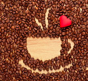 Coffee beans cup and heart Stock Photos