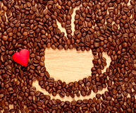Coffee beans cup and heart Royalty Free Stock Image