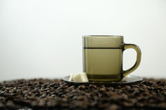 Coffee beans and a cup of hot water Stock Photos