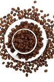 Coffee beans in a cup isolated. On white Royalty Free Stock Photo