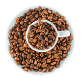Coffee beans in cup isolated on white background Stock Photography
