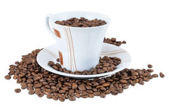 Coffee beans in a cup. Isolated on white background with clipping path Royalty Free Stock Photography
