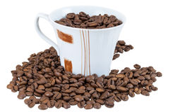 Coffee beans in a cup. Isolated on white background with clipping path Stock Photography