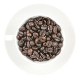 Coffee beans in the cup  isolated on white background Royalty Free Stock Image