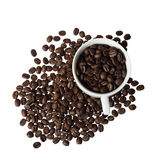 Coffee beans in cup. Isolated on white background - view from top Royalty Free Stock Photos