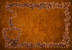 Coffee beans and cup pattern and grungy background Stock Photography