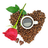 Coffee beans, cup and rose Stock Photos