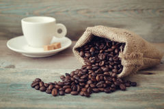 Coffee beans with cup Stock Photo