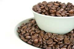 Coffee Beans in Cup and Saucer Royalty Free Stock Photo