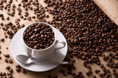 Coffee beans with cup and saucer Royalty Free Stock Photography