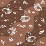 Coffee beans and cup - seamless Stock Images