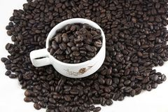Coffee Beans In Cup Stock Photography