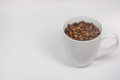 Coffee beans in a cup. On white background royalty free stock photography