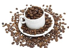 Coffee beans, cup on white background Royalty Free Stock Photos
