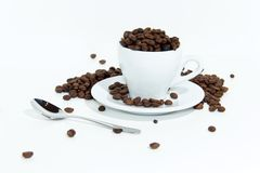 Coffee Beans In Cup. A white coffee cup full of coffee beans spilling out on a white background stock photo