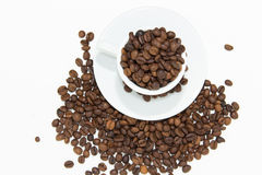 Coffee Beans In Cup. A white coffee cup full of coffee beans spilling out on a white background royalty free stock photos