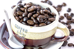 Coffee Beans. Coffee cup with coffee beans on a wooden tray Royalty Free Stock Images