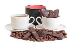 Coffee and chocolate two stock image