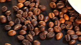 Coffee Beans On Dark Background.  Stock Image