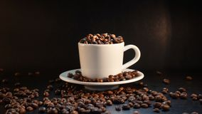 Coffee Beans On Dark Background.  Stock Photography