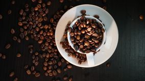 Coffee Beans On Dark Background.  Stock Photos