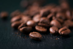 Coffee beans on a dark background background, closeup Stock Photo