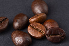 Coffee beans on a dark background. Macro Royalty Free Stock Photo