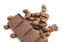 Coffee beans and dark chocolate Royalty Free Stock Photography