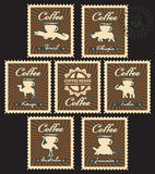 Coffee beans from different countries Royalty Free Stock Images