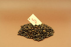 Coffee beans with dollar sign brown background. Coffee beans with dollar sign on brown background Stock Image