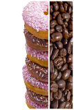 Coffee beans and donuts Royalty Free Stock Photo