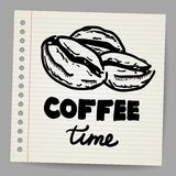 Coffee beans doodle Royalty Free Stock Photos