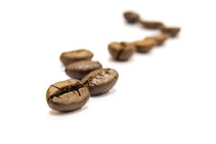 Coffee. Beans draw a zigzag line isolated on white. Soft focus Stock Photography