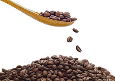 Coffee Beans Drop on White Background Stock Images