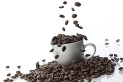 Coffee Beans Dropping royalty free stock images