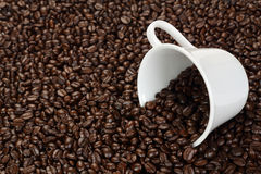 Coffee beans and earth model Royalty Free Stock Photo