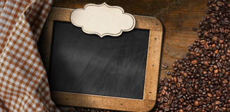 Coffee Beans with Empty Blackboard Stock Photos