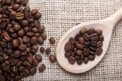 Coffee beans on fabric Royalty Free Stock Image