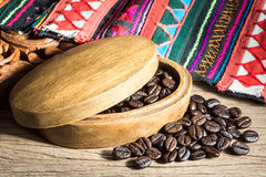 Coffee beans with fabric Royalty Free Stock Image