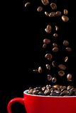 Coffee beans falling into cup. Coffee beans, falling into red cup, isolated on black background stock image