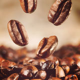 Coffee beans is falling down Stock Photo