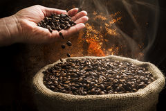 Coffee beans falling from hand to sack full of smoky coffee beans. Sack full of still hot, freshly roasted coffee beans with the hand above dropping beans Stock Photo