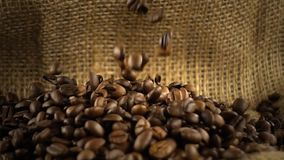 Coffee beans falling on heap of coffee beans on burlap sack - slow motion. Coffee beans falling on heap of coffee beans on burlap sack in slow motion stock video