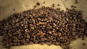 Coffee beans falling on heap of coffee beans on burlap sack - slow motion. Coffee beans falling on heap of coffee beans on burlap sack in slow motion stock video footage